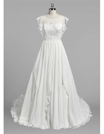 Elegant A-Line Sleeveless Floor Length Chiffon Wedding Dresses