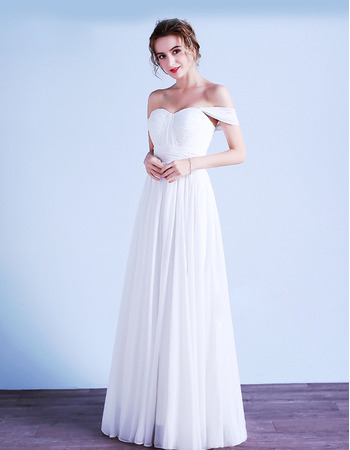 2019 Style Sweetheart Sleeveless Floor Length Chiffon Wedding Dresses