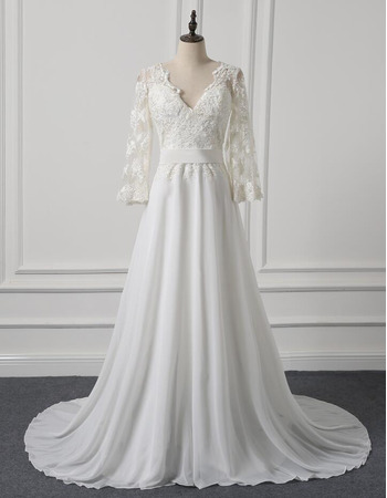 Custom V-Neck Long Chiffon Wedding Dresses with Long Lace Sleeves