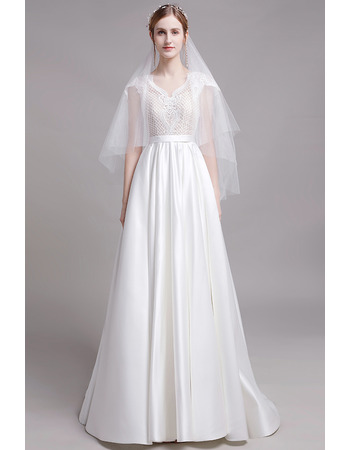 2019 New Style Short Sleeves Floor Length Lace Satin Wedding Dresses