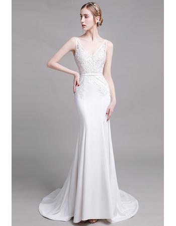 Sexy Mermaid V-Neck Sleeveless Floor Length Lace Satin Bridal Dresses