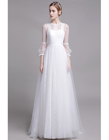 Discount Floor Length Organza Lace Bridal Dresses with Long Sleeves