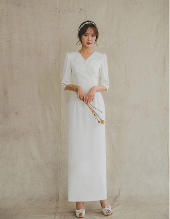 2019 New Column Ankle Length Satin Bridal Dresses with Half Sleeves
