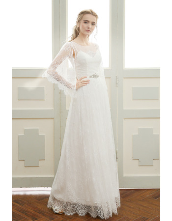 Custom Elegant Floor Length Lace Wedding Dresses with Cap Sleeves