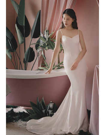Sexy Mermaid Spaghetti Straps Floor Length Satin Bridal Dresses