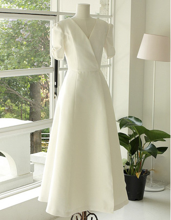 Discount Tea Length Satin Reception Bridal Dresses with Short Sleeves