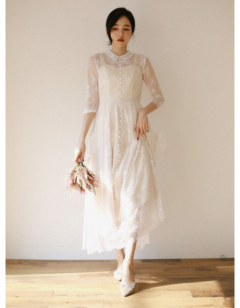 2019 New Ankle Length Lace Bridal Dresses with 3/4 Long Sleeves