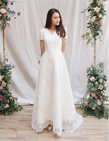 Custom V-Neck Long Satin Lace Wedding Dresses with Short Sleeves