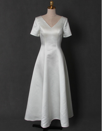 Vintage A-Line V-Neck Tea Length Satin Bridal Dress with Short Sleeves