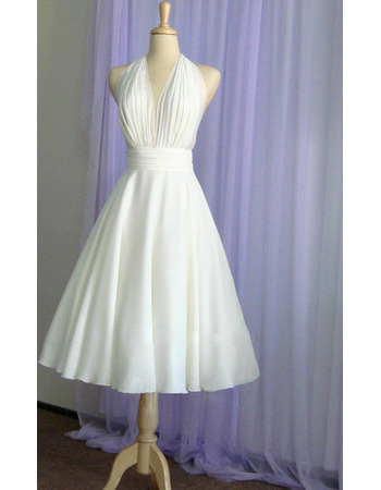 Sexy A-Line Halter Knee Length Chiffon Beach Wedding Dresses