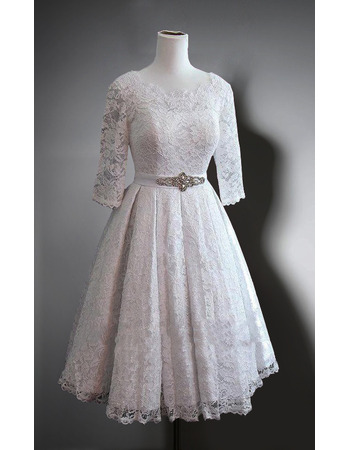 Affordable Knee Length Lace Wedding Dresses with 3/4 Long Sleeves
