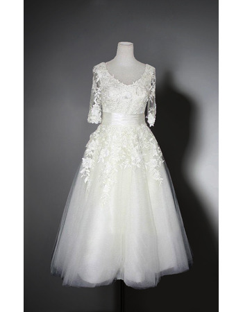 Elegant V-Neck Knee Length Organza Bridal Dresses with Half Sleeves