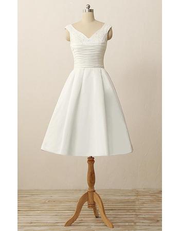 2019 New A-Line V-Neck Sleeveless Knee Length Satin Wedding Dresses