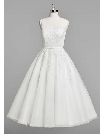 Inexpensive A-Line V-Neck Knee Length Satin Organza Wedding Dresses