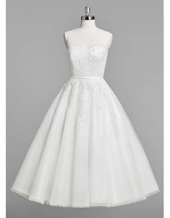 Inexpensive A-Line V-Neck Knee Length Satin Organza Wedding Dresses