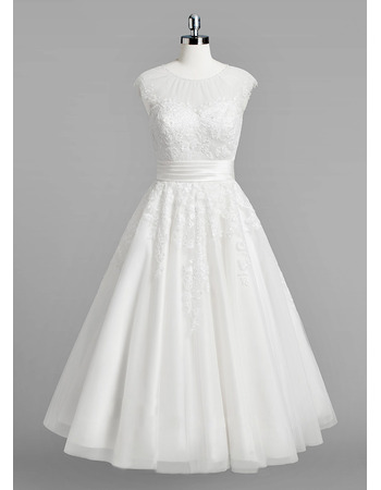 Informal A-Line Sleeveless Knee Length Satin Organza Wedding Dresses