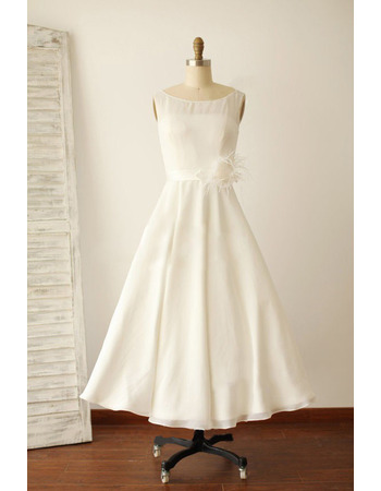 Affordable A-Line Tea Length Chiffon Reception Wedding Dresses