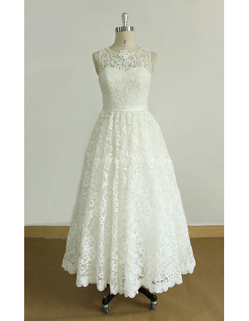 Vintage A-Line Sleeveless Tea-Length Lace Reception Wedding Dresses