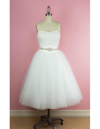 Custom A-Line Sweetheart Tea-Length Satin Organza Wedding Dresses