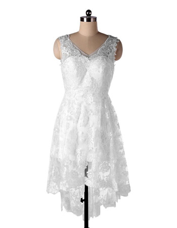 Casual A-Line V-Neck High-Low Short Lace Beach Wedding Dresses