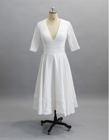 2019 Style V-Neck Tea-Length Satin Bridal Dresses with Half Sleeves