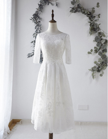 Custom A-Line Tea-Length Organza Wedding Dresses with Half Sleeves