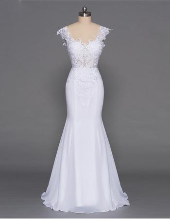 Custom Mermaid Sweetheart Floor Length Chiffon Wedding Dresses