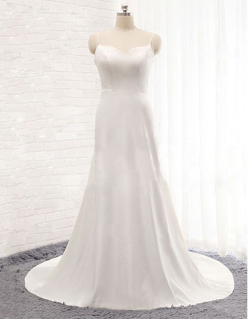 Affordable Sweetheart Long Satin Wedding Dresses with Spaghetti Straps