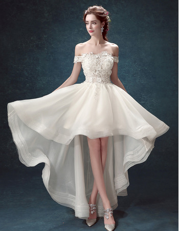Informal A-Line Off-the-shoulder High-Low Organza Wedding Dresses