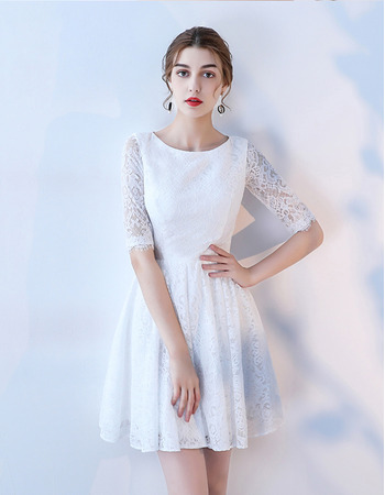 Custom A-Line Mini/ Short Lace Wedding Dresses with Half Sleeves