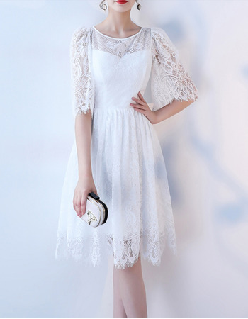 Discount Knee Length Lace Reception Wedding Dresses with Half Sleeves