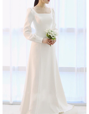 Vintage Square Neck Floor Length Satin Wedding Dress with Long Sleeves