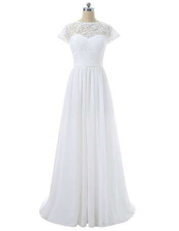 Inexpensive Floor Length Chiffon Wedding Dresses with Short Sleeves