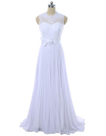 Elegant A-Line Sleeveless Floor Length Chiffon Pleated Wedding Dresses