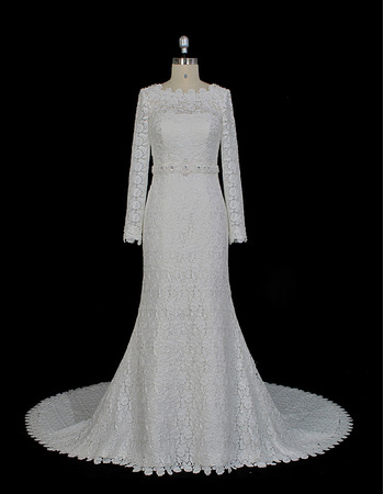 Custom Sheath Floor Length Lace Wedding Dresses with Long Sleeves