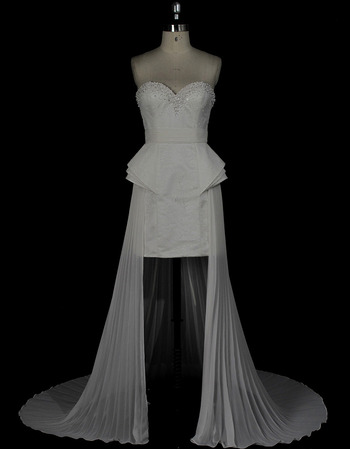 Sexy Column Sweetheart High-Low Satin Chiffon Pleated Wedding Dresses