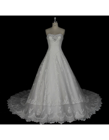2020 New Style A-Line Sweetheart Floor Length Organza Wedding Dresses