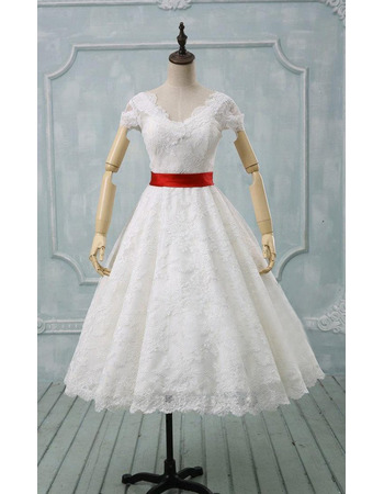 Inexpensive A-Line V-Neck Knee Length Lace Wedding Dress with Belt