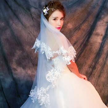 2 Layers 150cm Organza with Embroidery White Wedding Veils