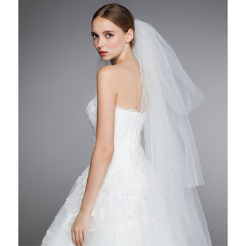 4 Layers Fingertip-Length Organza White Wedding Veils