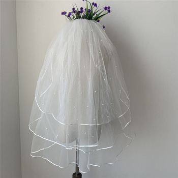 3 Layers Elbow-Length Tulle with Pearl White Wedding Veils