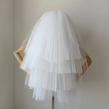 4 Layers Elbow-Length Tulle White Wedding Veils