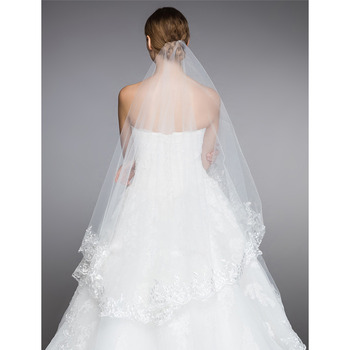 2 Layers Floor-Length Organza with Lace White Wedding Veils