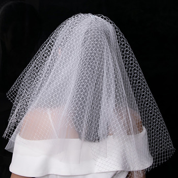 Beautiful 2 Layers Short Organza Net White Wedding Veils
