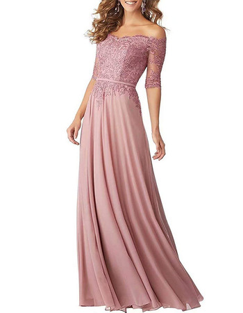 Affordable Off-the-shoulder Long Chiffon Applique Bridesmaid Dresses