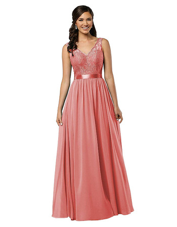 2020 New V-Neck Floor Length Lace Chiffon Bridesmaid Dress with Belt