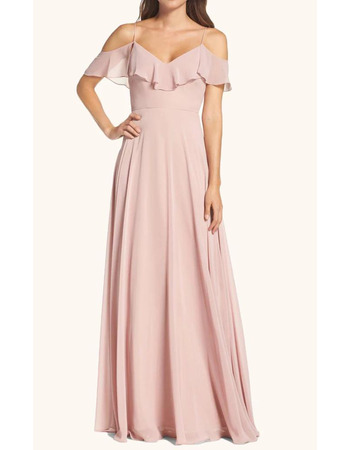Custom A-Line Spaghetti Straps Floor Length Chiffon Bridesmaid Dresses