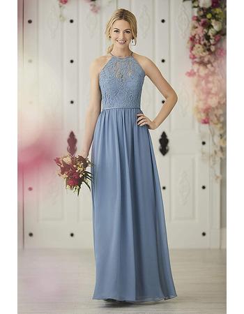 Elegant A-Line Halter Floor Length Lace Chiffon Bridesmaid Dresses