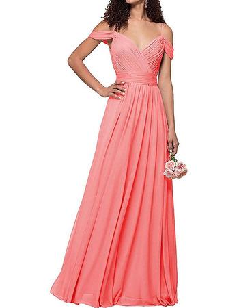 2020 Style Spaghetti Straps Floor Length Chiffon Bridesmaid Dresses