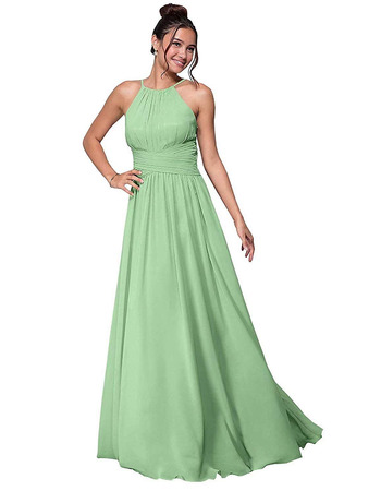 Custom A-Line Halter Floor Length Chiffon Bridesmaid/ Party Dresses